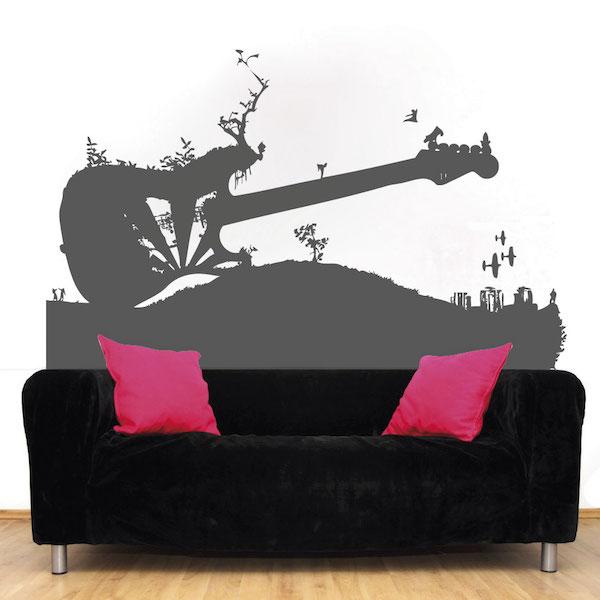 Guitar Grass Abstract Vinyl Wall Art Trendy Wall Designs - Vinyl wall decals abstract