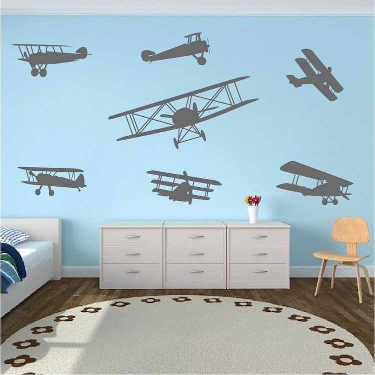 Airplane wall decals roselawnlutheran for Aeroplane wall mural