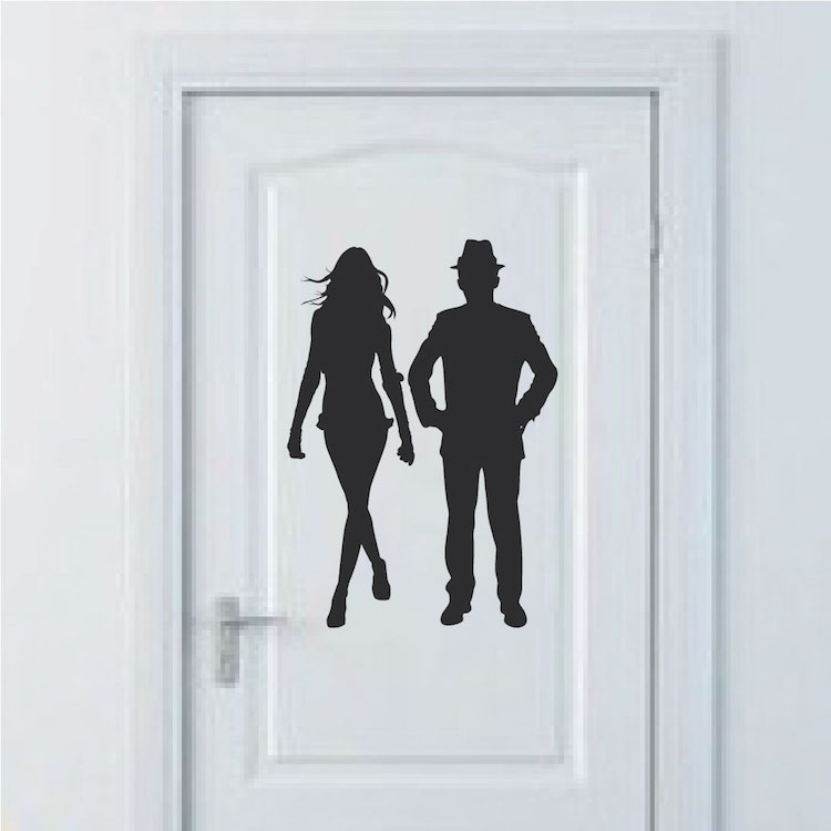 Bathroom Door Stickers : Modern bathroom door wall decals trendy designs