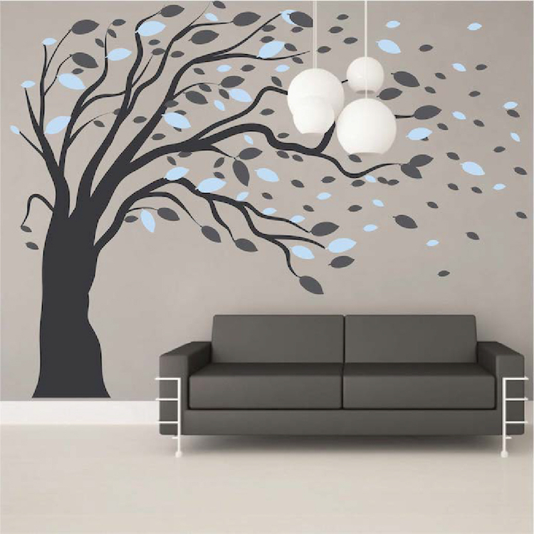 blowing tree wall art design zoom blowing right - Wall Art Design Decals