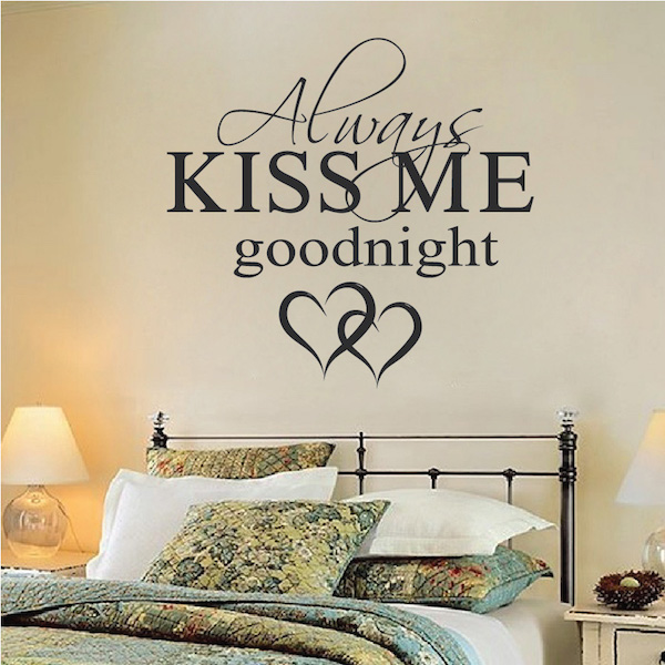 always kiss me goodnight wall quote trendy wall designs