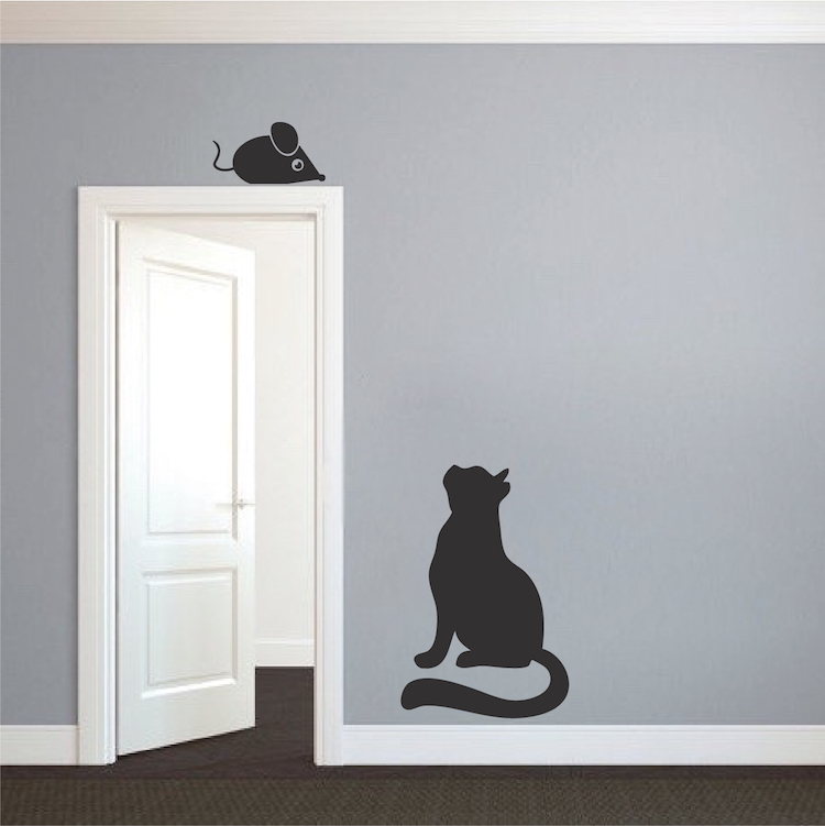 Cat And Mouse Vinyl Decal Stickers Vinyl Wall Stickers For - Custom vinyl wall decals cats