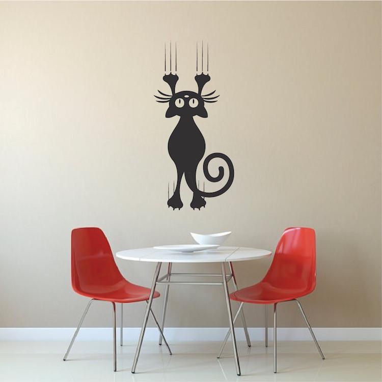 Cat Scratching Wall Decal Sticker Cat Vinyl Vector Mural