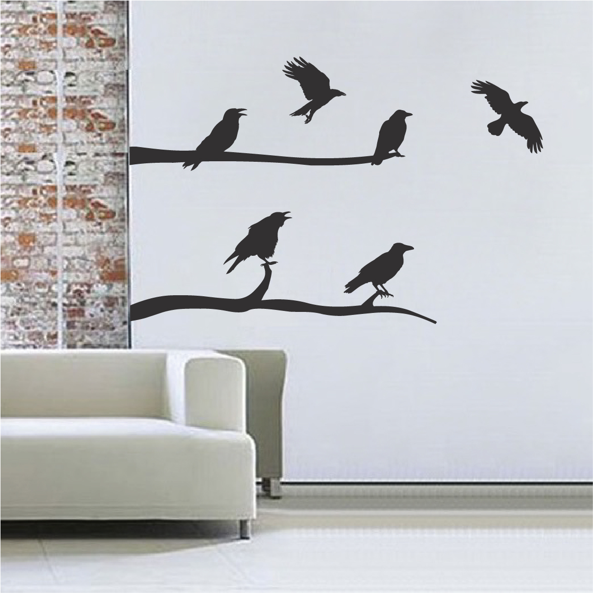 Crow Decal Stickers Halloween Decals Decoration Crows Wall and