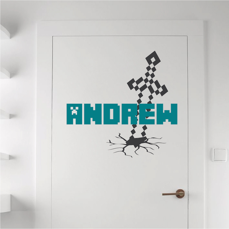 custom minecraft name room decal   boys minecraft personalized video game bedroom wall sticker