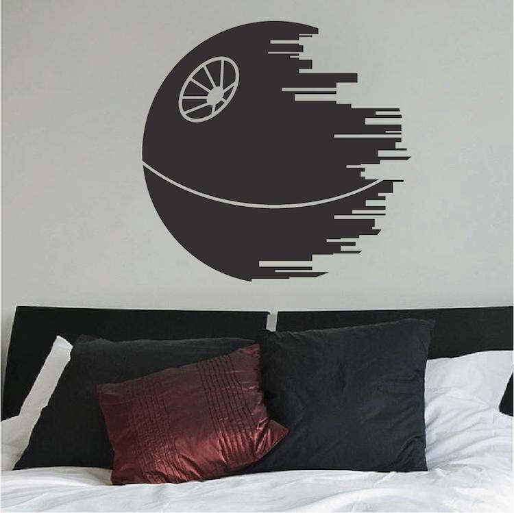 death star wall decal star wars wall decor trendywalldesigns