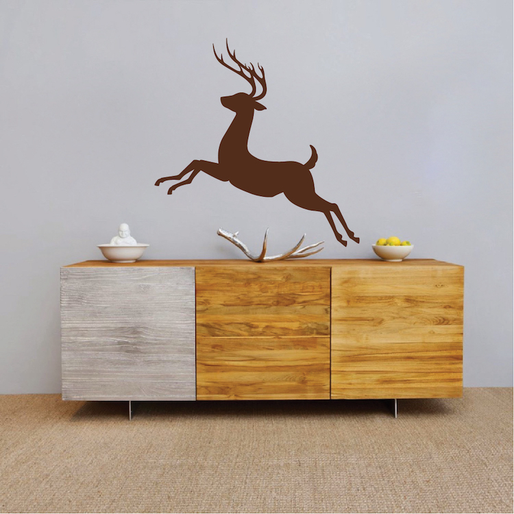 Deer jumping mural decal sticker self adhesive deer wall for Deer landscape wall mural