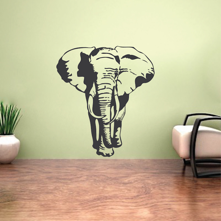 Elephant vinyl wall decal large elephant stickers for for Elephant wall mural