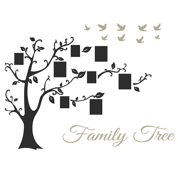 Family Frames Wall Decor picture frame family tree wall art, tree decals | trendy wall designs