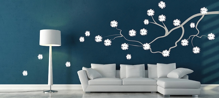Contemporary Branch Flowers Vinyl Wall Decal