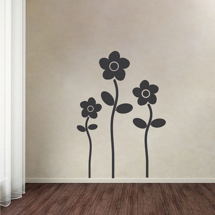 Floral Design Wall Decals : Flowers wall decal stickers nursery flower murals