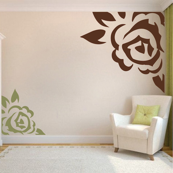Corner Rose Vinyl Wall Art Design | Trendy Wall Designs