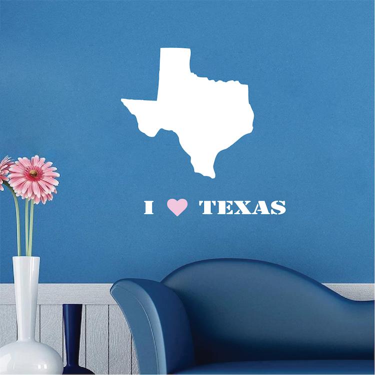 I Love Texas Decal Sticker Texas State Wall Mural Self