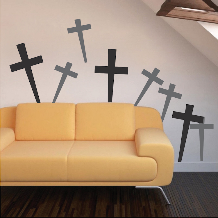 Halloween Peel and Stick Graveyard Cross Decals - Cross Wall Decals ...