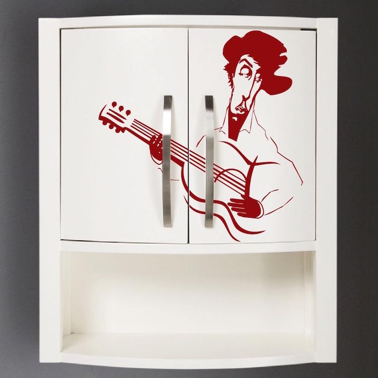 Guitarist Vinyl Art Decal Sticker Guitar Wall Murals Large