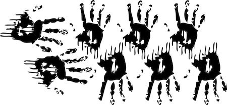 Bloody Handprints Halloween Stickers. Zoom