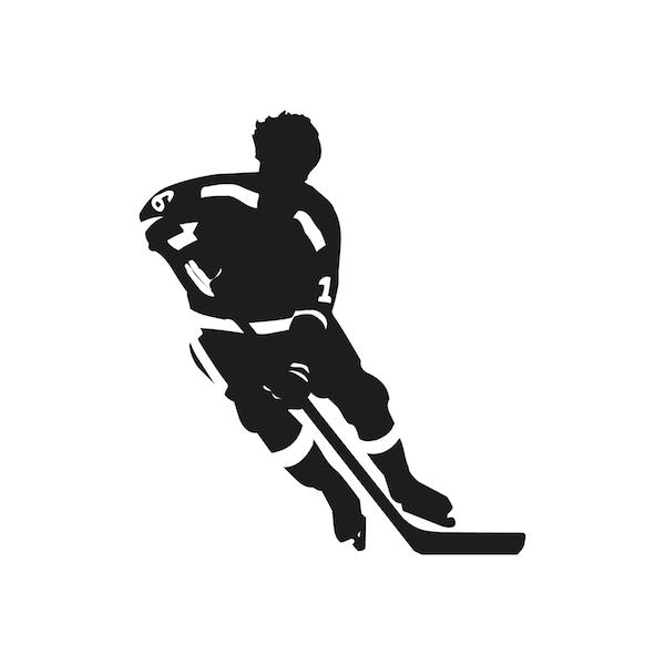 Hockey Wall Decal Large Decal Custom Name Decal Boys: Hockey Player Wall Decal