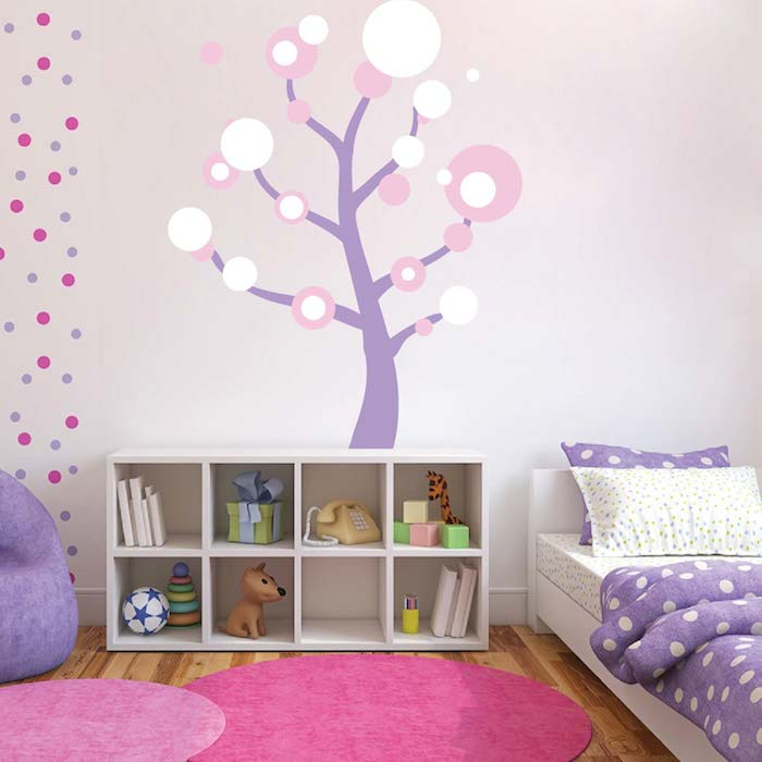 polka dot tree wall art design trendy wall designs
