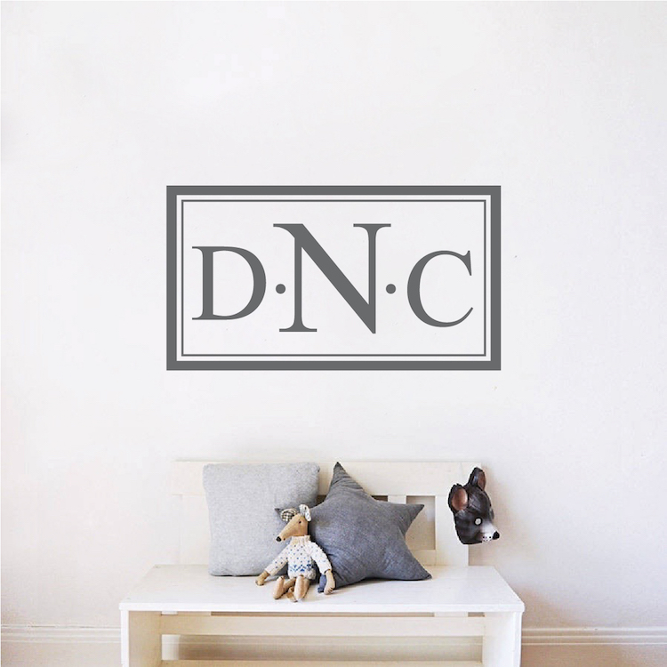 14x16 Monogram wall decal Nursery monogram initials Girl bedroom Kids room decal