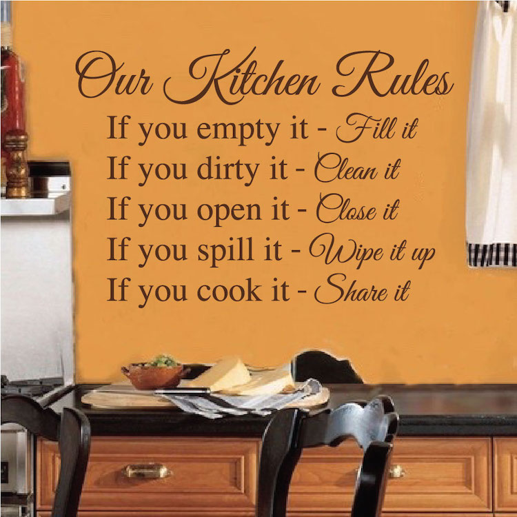 Kitchen Rules Wall Decal Saying. Zoom