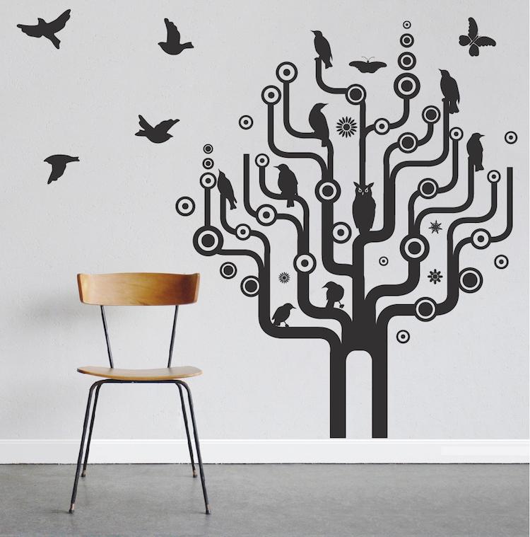 Urban Bird Tree Wall Art Design. Zoom