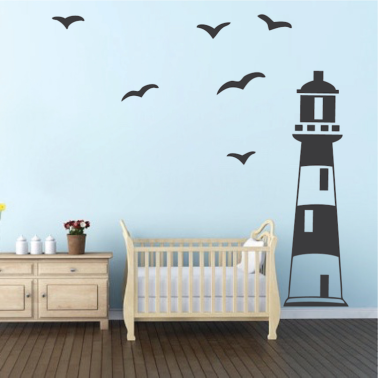 Lighthouse Wall Decal Nautical Boys Room Wall Decor Sailing Wall