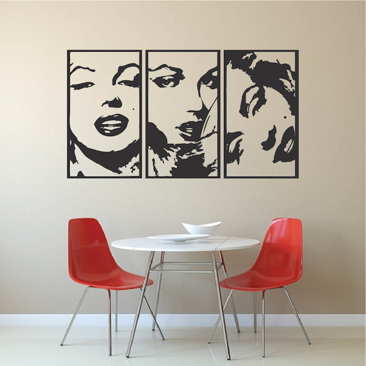 marilyn monroe panel wall decals modern panel decals marilyn monroe kiss people wall stickers adhesive wall sticker
