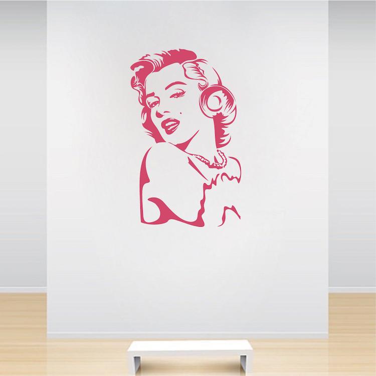 Marilyn Monroe Vinyl Wall Decal Art _ Interior Wall Murals _ Trendy ...
