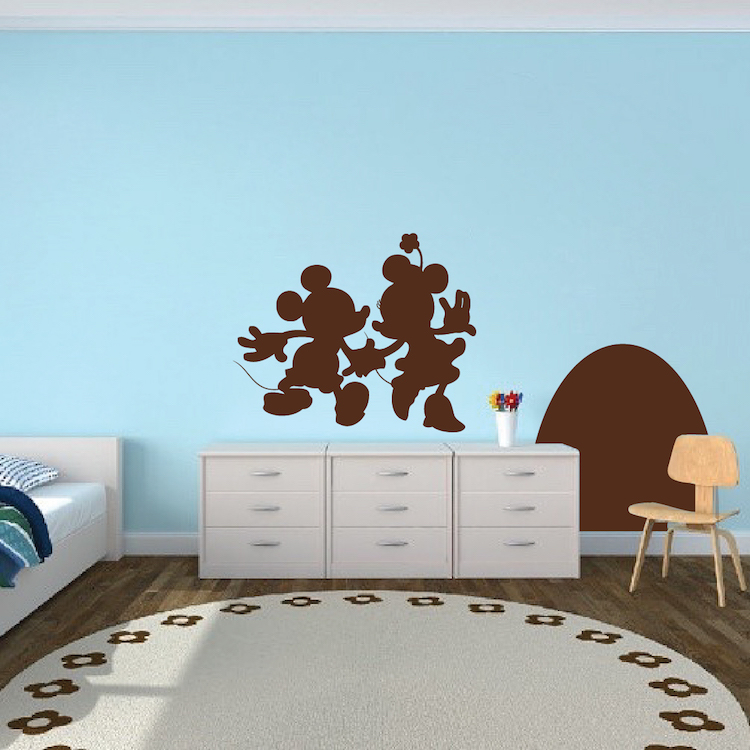 Mouse Hole Wall Decal. Mickey and Minnie Mouse Wall Decal  Kids Bedroom Wall Decor