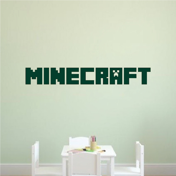 custom minecraft font decal   boys minecraft personalized video game bedroom wall sticker   diy