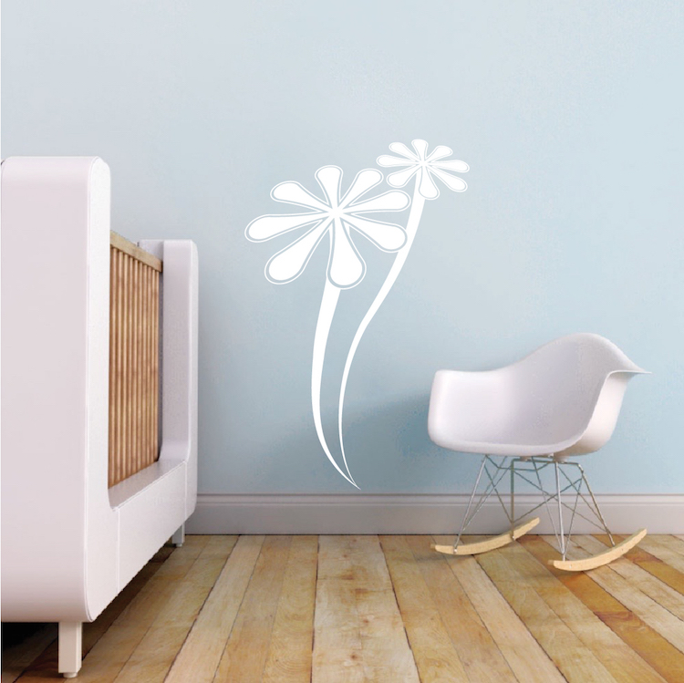 Trendy Design Wall Decals : Two daisies wall decal flower decals nursery room