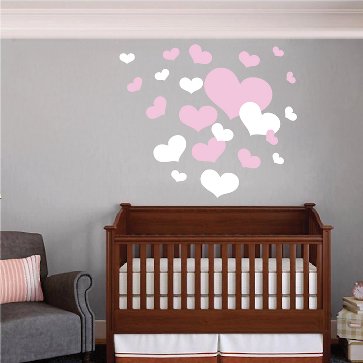 Nursery Room Heart Wall Decals Trendy Wall Designs