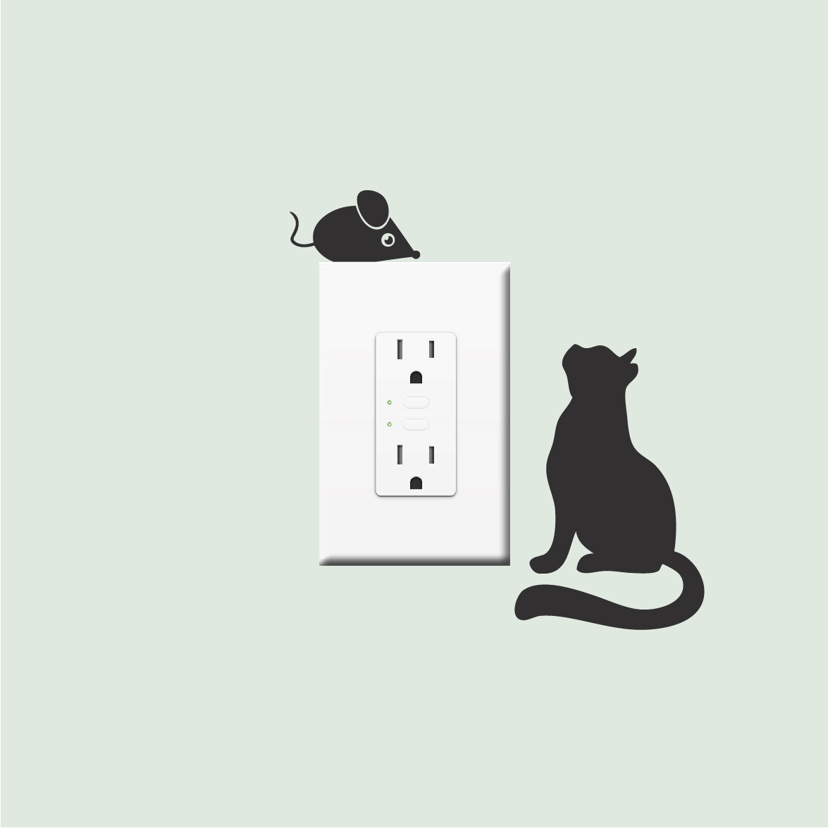 Cat and Mouse Vinyl Decal Stickers Vinyl Wall Stickers For