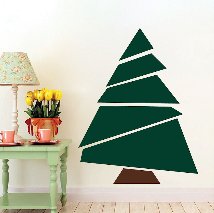 Paper tree mural decal christmas tree decals self for Christmas tree mural