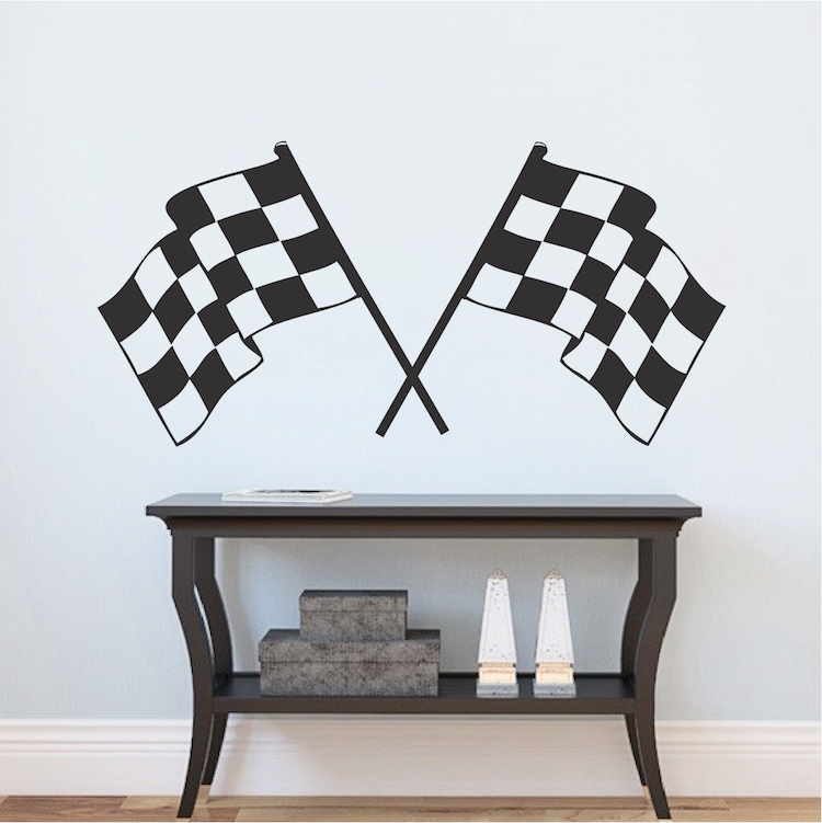 Racing Flags Boys Room Decal Sticker Zoom