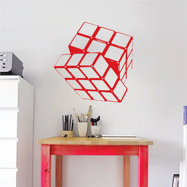 rubik cube vinyl wall decal sticker murals trendy wall designs. Black Bedroom Furniture Sets. Home Design Ideas