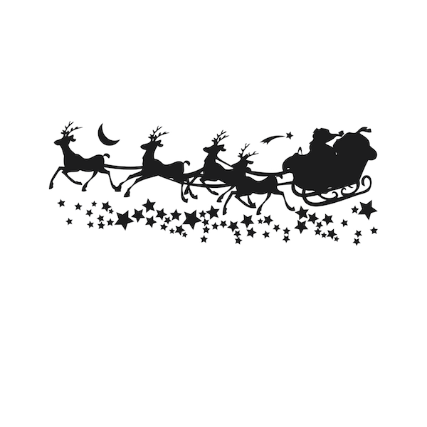 Santa S Sleigh With Stars Wall Decal Trendy Wall Designs
