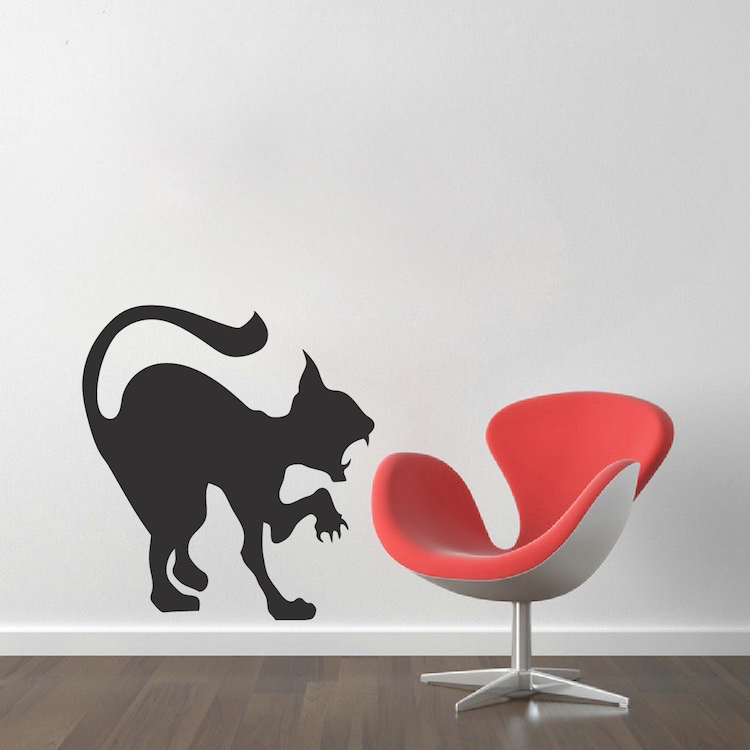 Scary Cat Decal Sticker. Zoom