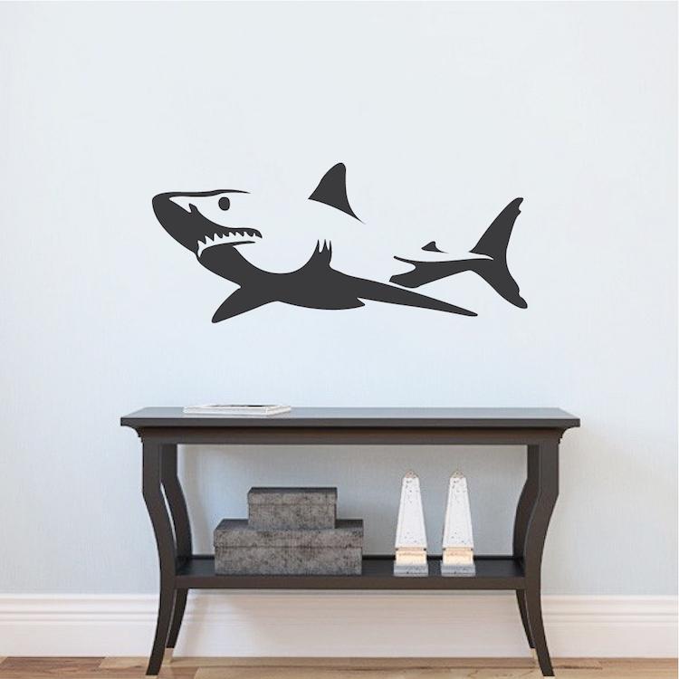shark wall decal sticker removable shark decals large wall decals shark wall decor shark. Black Bedroom Furniture Sets. Home Design Ideas