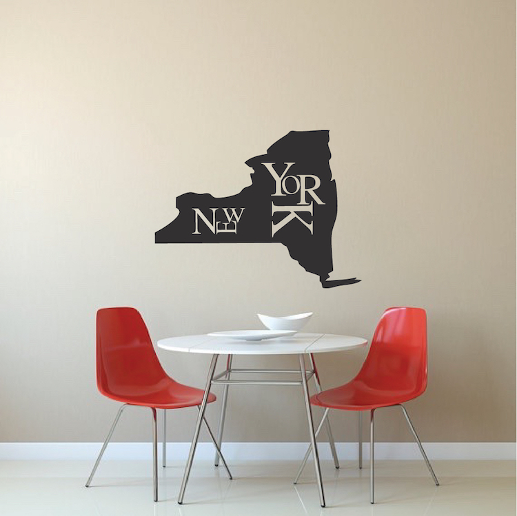 New York State Wall Decal Decor Modern New York Wall Lettering