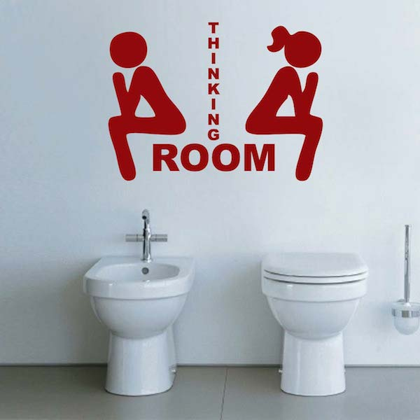 Thinking Room Wall Decal Bathroom Decals Trendy Wall Designs - Toilet wall stickers