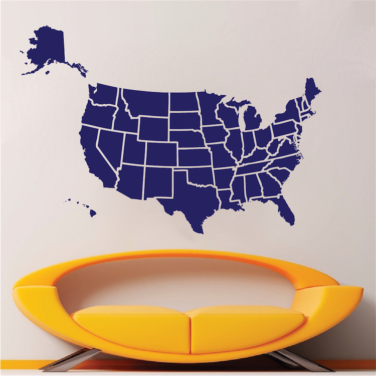 Map Of USA Decal Sticker Large Us Map Interior Decor State Wall - Us map wall decal