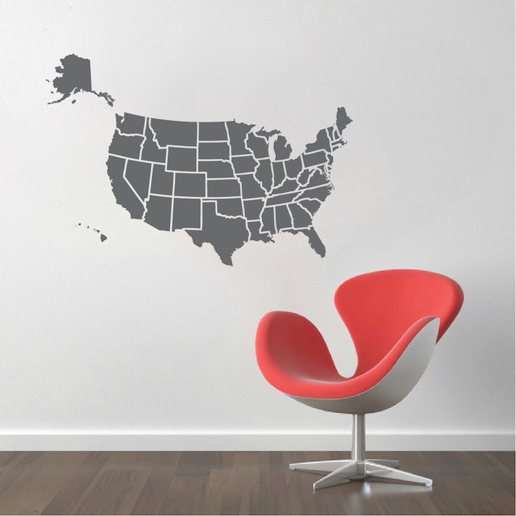 Map Of USA Decal Sticker _ Large Us Map Interior Decor _ State Wall ...