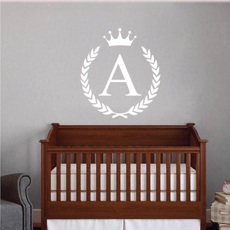Wreath Name Initial Wall Decal. Zoom