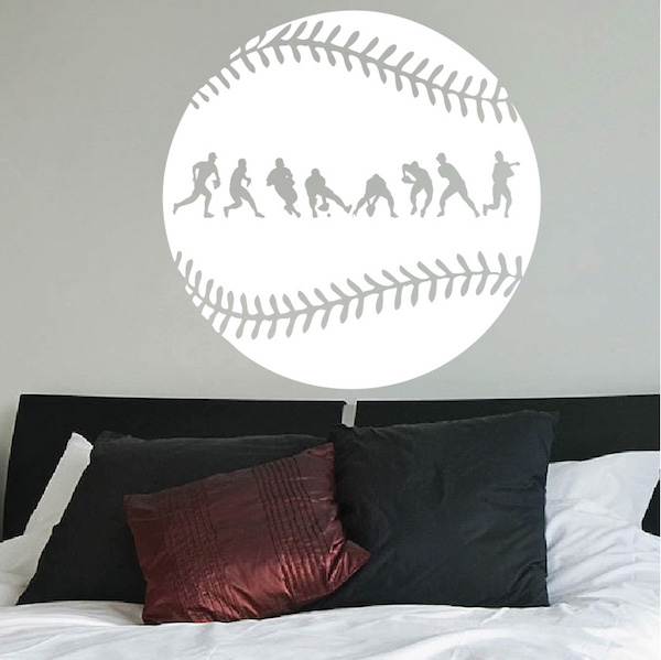 Baseball Fielder Action Wall Decal. Zoom