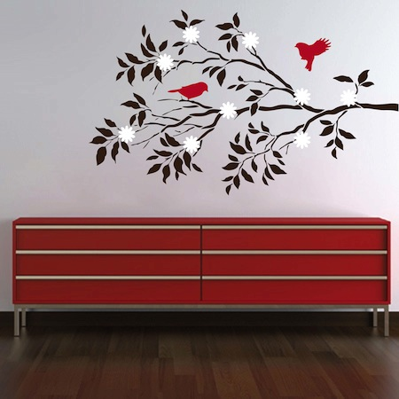 Pretty Birds Branch Wall Decal - Wall decals birds