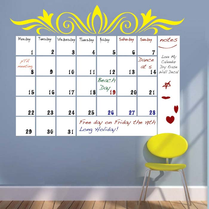 Dry Erase Calendar Wall Decal Part 38
