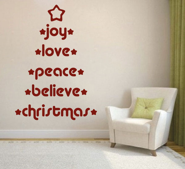 Joy, Love, Peace, Believe Wall Decal - Trendy Wall Designs
