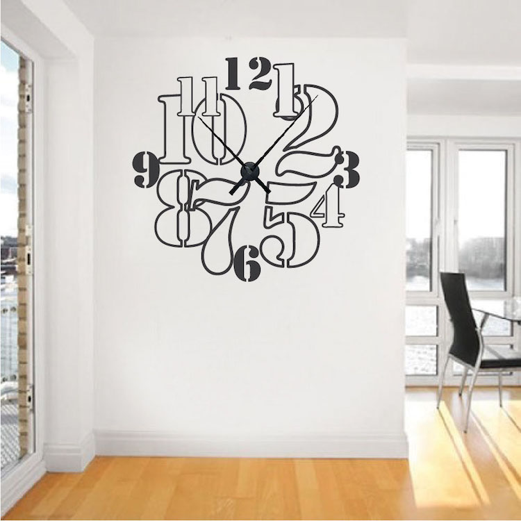 Clock Wall Decor clock wall decals - vinyl clock decals - trendy wall designs