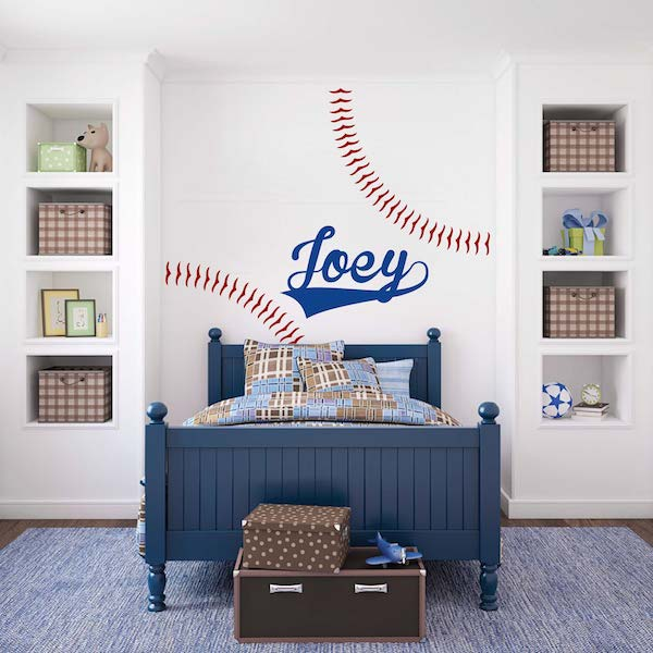 Customizable Baseball Wall Decal Zoom